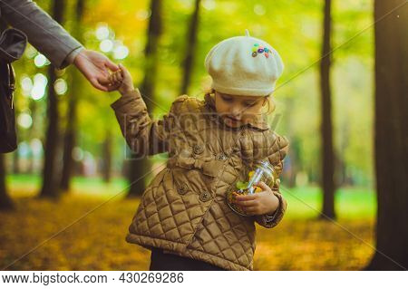Little Girl Keeps Glass Jar Filled With Yellow And Green Leaves, Flowers And Seeds. Collected Autumn