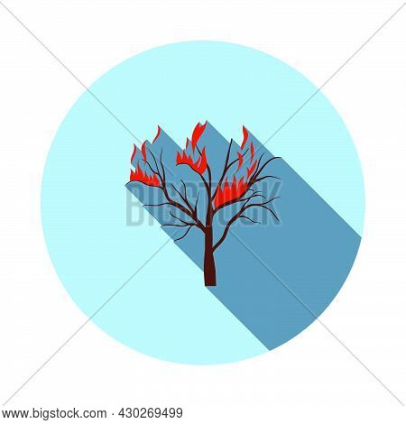 Wildfire Icon. Flat Circle Stencil Design With Long Shadow. Vector Illustration.