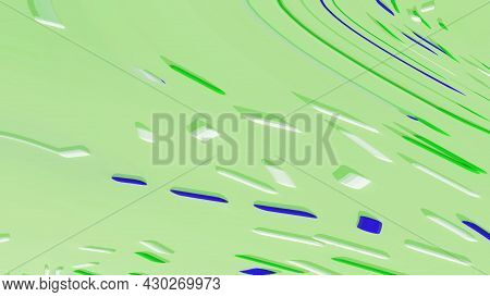 Abstract Pastel Pistachio Green Background With Bright Blue And White Geometric Shape. Art Trippy Di