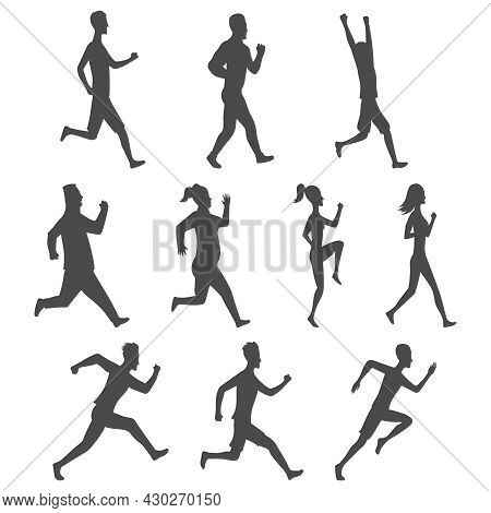 Set Of Sport Movements People Silhouette. Active Fitness, Run, Exercise And Athletic Man And Woman V
