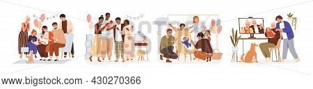 Set Of Family Members At Baby Shower Parties And Sip And See Events. People Celebrating, Meeting, An