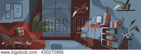 Living Room Interior At Night Time. Apartment With Furniture, Plants And Window In Dark. Inside Cozy