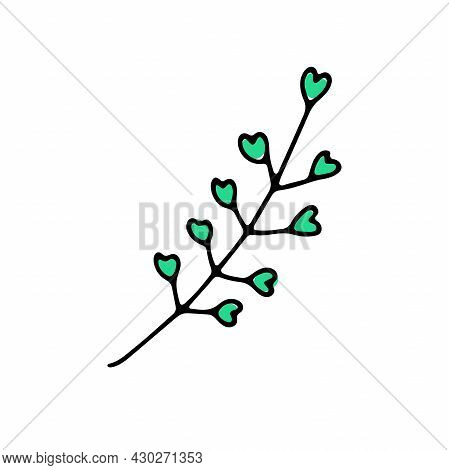 Doodle Shepherds Purse. Hand-drawn Plant Isolated On White Background. Herb With Leaves, Petals In T