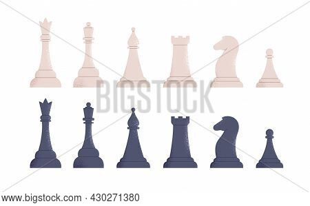Black And White Chess Pieces Set. Rows Of Queen, King, Bishop, Rook, Horse And Pawn From Different T
