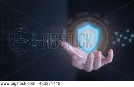 Business Woman Holding Shield Protect Icon On Virtual Screen. Cybersecurity Network Of Connected Dev