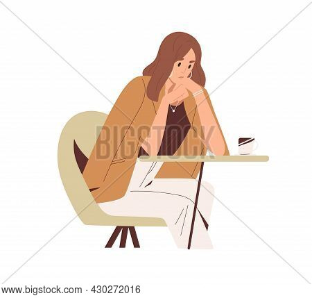 Sad Thoughtful Woman Sitting At Table In Cafe. Unhappy Pensive Person Thinking About Problems And Tr