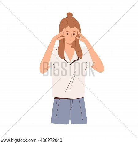 Focused Pensive Person Thinking With Fingers On Temples, Solving Problems And Tasks. Concentrated Th