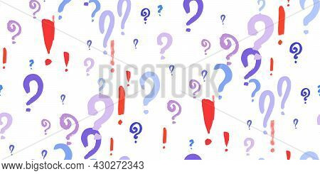 Seamless Pattern Of Question, Xclamation Marks Scattered. Doodle Punctuation Marks In Grunge Texture