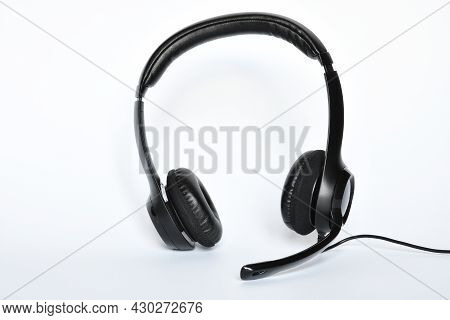 Helpdesk Headset. Headphones With Mic Isolated On White