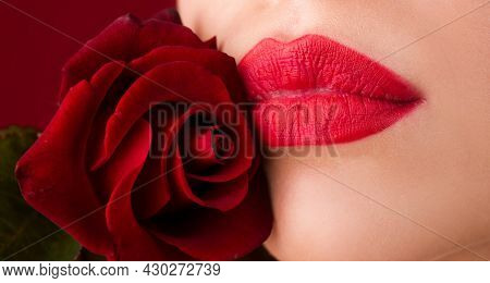 Cropped Close Up Photo Of Beautiful Red Lipstick Lips, Isolated On Red Background. Lips With Lipstic