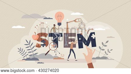 Stem Study Fields With Science, Engineering, Technologies And Mathematics Learning Tiny Person Conce