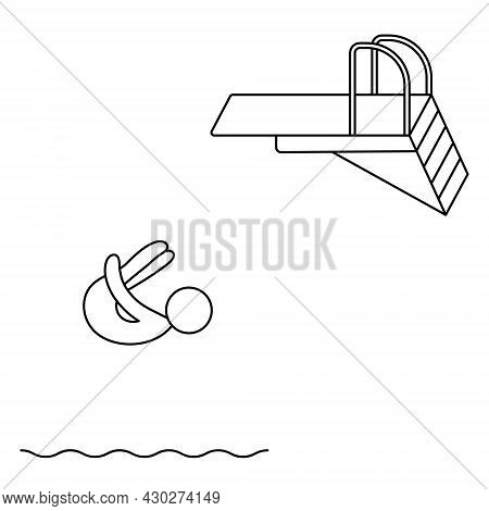 Jumping Into The Water From A Springboard. The Athlete Is Jumping Bent Over. The Body Is Bent At The