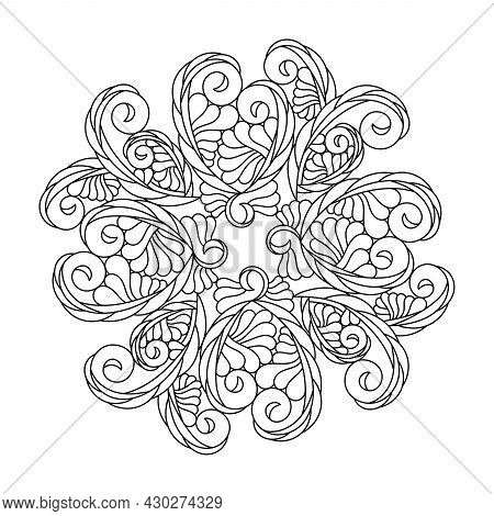 Coloring Book Mandala For Adults And Older Children . Abstract Curls, A Fantasy Composition, Floral