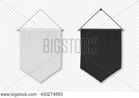 Vector 3d Realistic Blank White And Black Pennant Wall Hanging, Design Template, Mockup. Pennant Clo