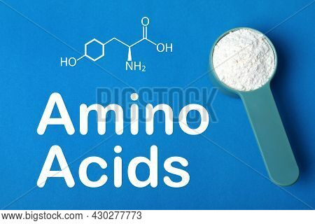 Measuring Scoop Of Amino Acids Powder On Blue Background, Top View