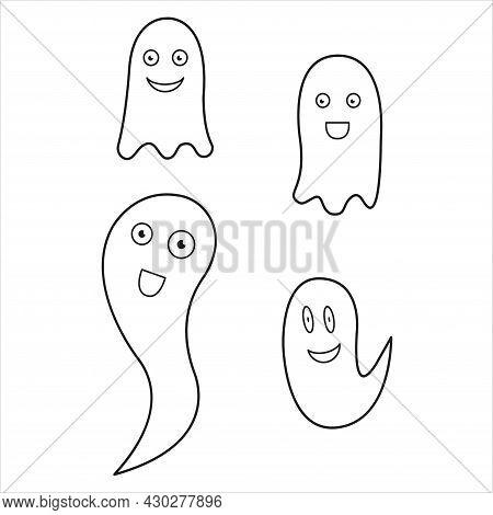 Simple Flat Ghost Illustration. Halloween Vector Icons Set. Cute Cartoon Characters. Big Set Of Hall