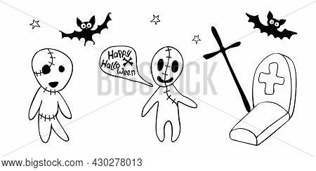 Happy Halloween. Funny Illustration With Two Zombies Who Met At Night In A Cemetery. Set Of Contour