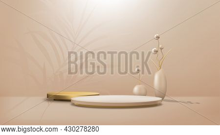 Studio Room With Cylinder Podium And Peach Gold Balls In Vase,gallery Room With Stand And Palm Leave