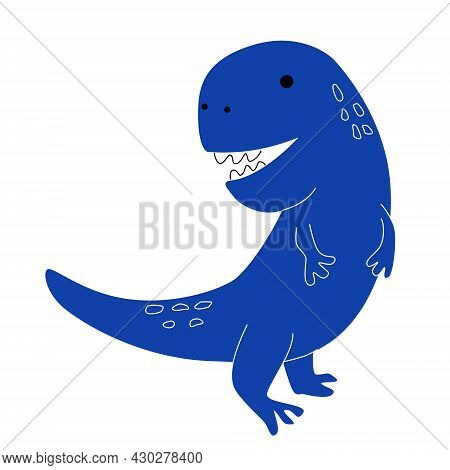 One Blue Animal Dinosaur Tyrannosaurus In Doodle Style For Children's Room, Isolated On A White Back