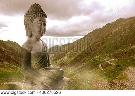 Majestic Buddha Sculpture On Beautiful Mountain Slope