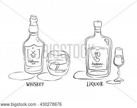 Whiskey And Liquor. Bottle And Glass In Hand Drawn Style. Restaurant Illustration For Celebration De
