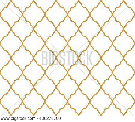 Abstract Geometry Pattern In Arabian Style. Seamless Vector Background. White And Gold Graphic Ornam