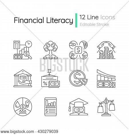 Financial Literacy Linear Icons Set. Compare Prices. Plan Budget. Money Management. Finance And Econ