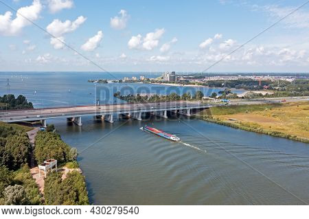 Aerial from the highway A6 at the Hollandsche Brug near Amsterdam at the IJsselmeer in the Netherlands