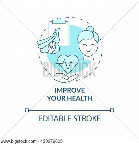 Improve Your Health Blue Concept Icon. Healthy Products Abstract Idea Thin Line Illustration. Boost