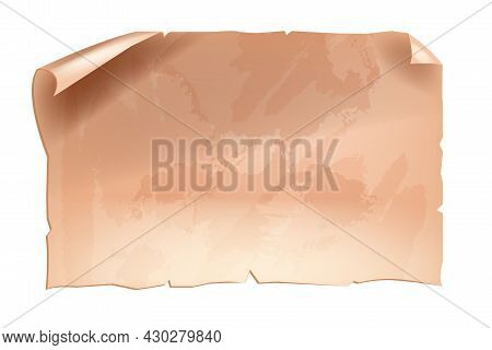 Old Paper Background, Vector Vintage Antique Parchment Frame, Brown Grunge Page Isolated On White. A