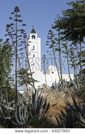Minaret of Sidi Bou Said Mosque in local traditional colours. Photo taken in suburb of Tunis - capital city of Tunisia