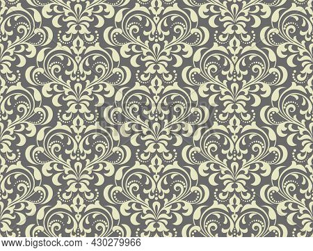 Floral Pattern. Vintage Wallpaper In The Baroque Style. Seamless Vector Background. Gray Ornament Fo