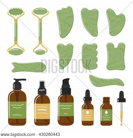 Big Set Of Organic Skin Care Products, Face Oil, Gua Sha Stones, Rollers Are Made Of Green Jade. Hom