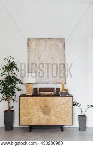 Closeup Of Living Room Interior With Vintage Decor. Modern Minimalistic Apartment Design, Wooden Dec