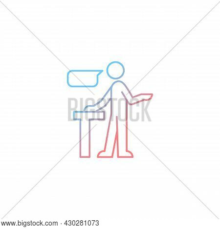 Confident Speaking Gradient Linear Vector Icon. Assertive Public Speaker. Expressing Opinions With C