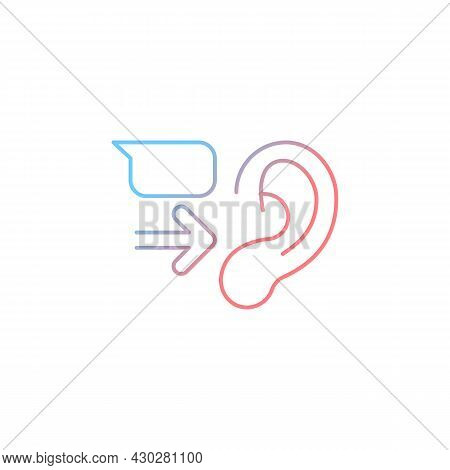 Message Receiver Gradient Linear Vector Icon. Communication Process. Transmitting Words. Empathy Ski