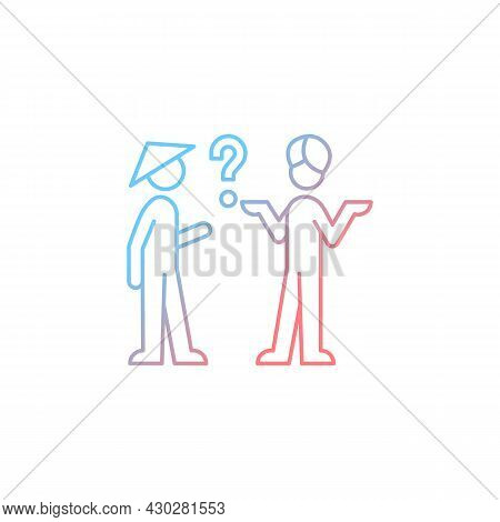 Cultural Barriers Gradient Linear Vector Icon. Cross-cultural Communication. Behavior, Personality D