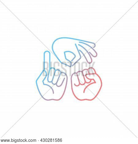 Gestures In Communication Gradient Linear Vector Icon. Hands Movement. Express Feelings. Non-verbal