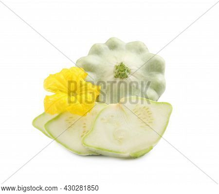 Whole And Cut Pattypan Squashes With Flower On White Background