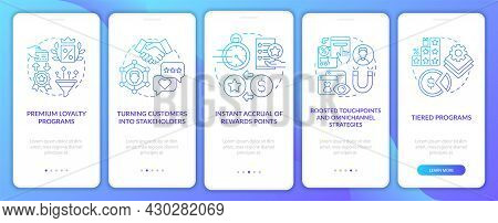 Loyalty Program Tendencies Blue Gradient Onboarding Mobile App Page Screen. Walkthrough 5 Steps Grap