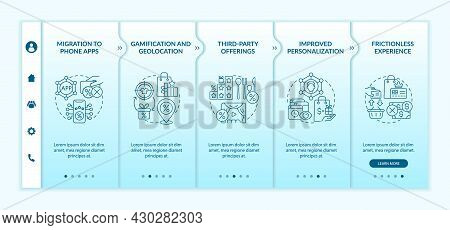 Loyalty Programs Modern Trends Onboarding Vector Template. Responsive Mobile Website With Icons. Web