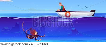 Sea Landscape With Woman Scuba Diver Under Water And Man Waiting In Boat. Vector Cartoon Illustratio
