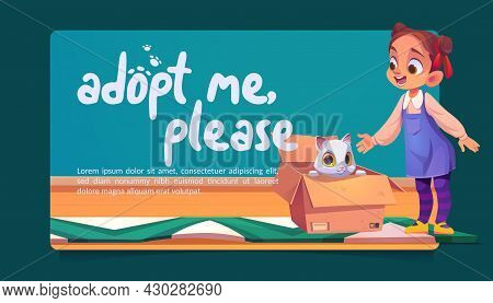Adopt Me Poster With Cute Cat In Cardboard Box And Happy Girl. Concept Of Adoption Homeless Animals.