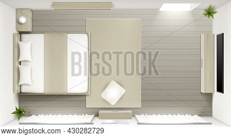 Bedroom Interior Top View, Modern 3d Home Or Hotel Room, Empty Apartment With Double King Size Bed,