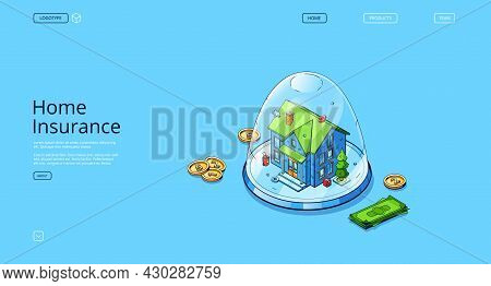 Home Insurance Banner. Concept Of Finance Safety Property, Real Estate Guarantee. Vector Landing Pag