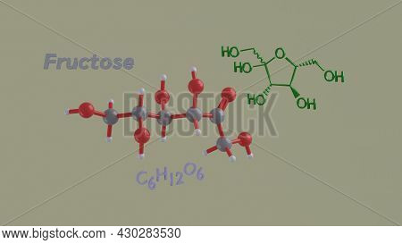 Fructose Or Laevulose Reducing Sugar Ketose Science Chemical Structure And Model 3d Rendering Illust