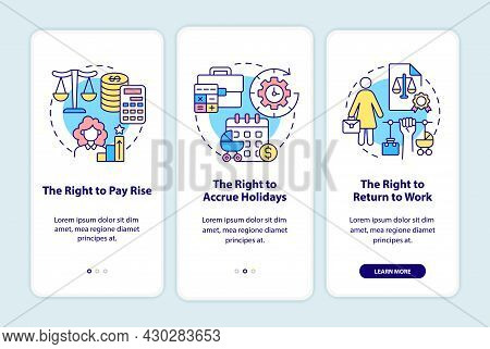 Maternity Leave Employee Rights Onboarding Mobile App Page Screen. Entitlements Walkthrough 3 Steps