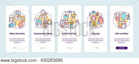 Calculating Maternity Pay Requirements Onboarding Mobile App Page Screen. Walkthrough 5 Steps Graphi