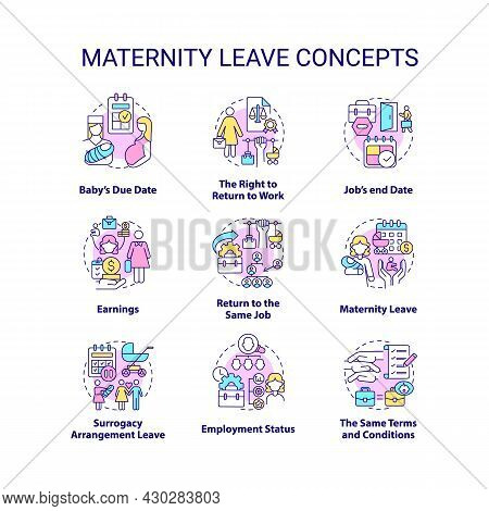 Maternity Leave Related Concept Icons Set. Employee Rights And Entitlements Idea Thin Line Color Ill