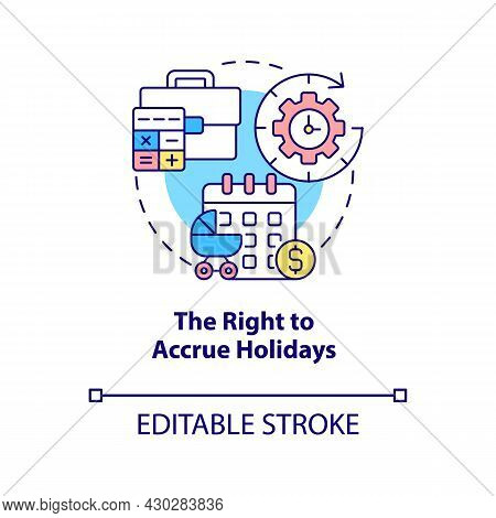 Right To Accrue Holidays Concept Icon. Build Up Paid Holiday Abstract Idea Thin Line Illustration. A